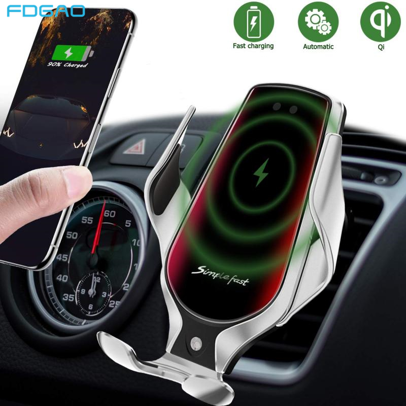 FDGAO 10W Qi Fast Wireless Charger Car Holder Automatic Clamping Smart Infrared Sensor Air Vent Mount Mobile Phone Bracket Stand