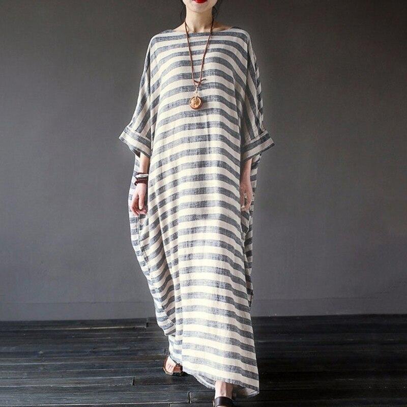 Повседневное женское платье в полоску, летнее Новое хлопковое и льняное платье большого размера с рукавом три четверти, винтажное длинное