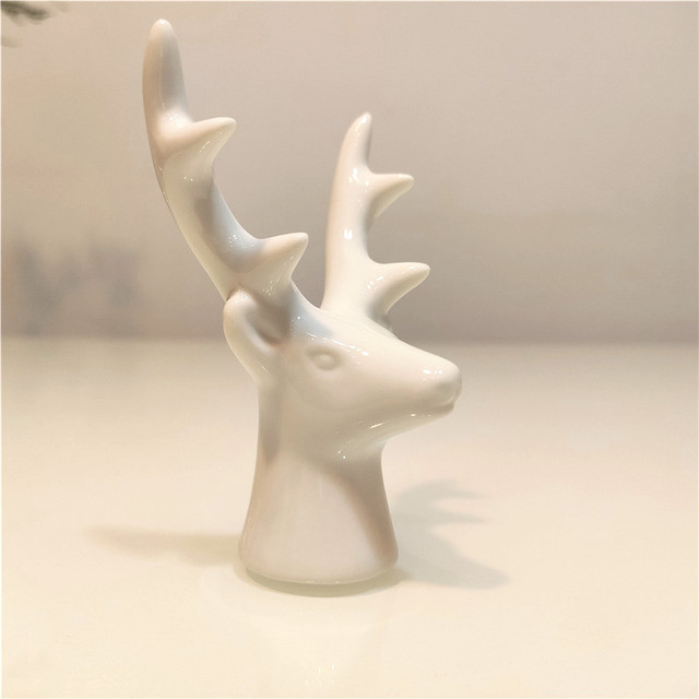 Ceramic Cute Gold White Rabbit Fox Figurines Porcelain Table Home Decoration Gift Modern Statue  Jewelry Rack Furnishings DHYN01 6
