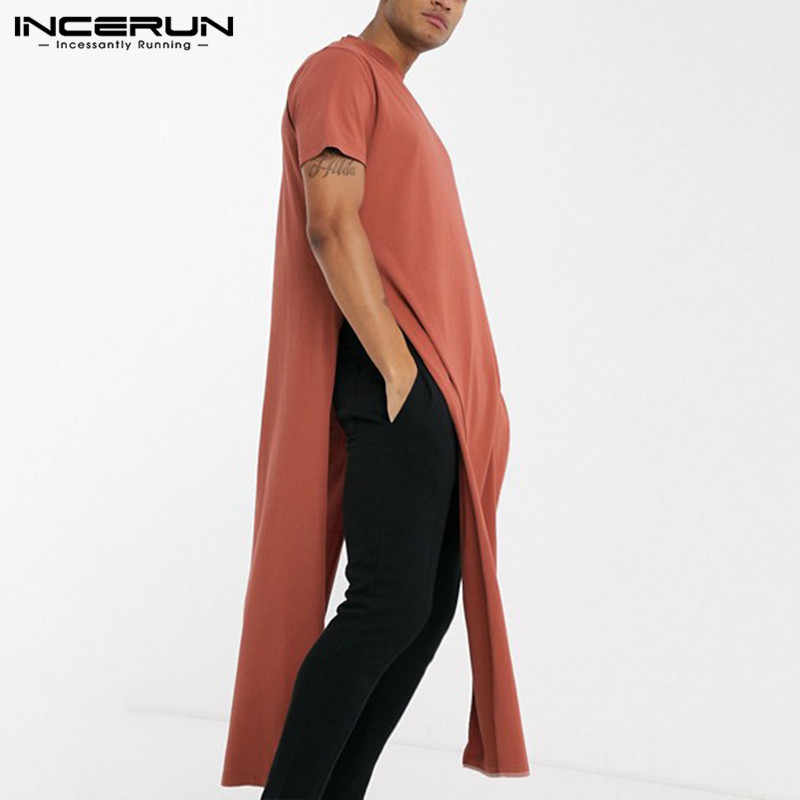 INCERUN אופנה גברים T חולצה מוצק O צוואר קצר שרוול Streetwear מזדמן קיץ פאנק חולצות פיצול Hem Mens ארוך סגנון חולצות 2020