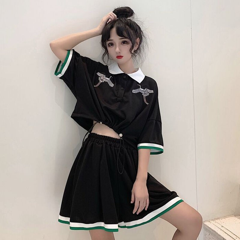 NiceMix Harajuku Short-sleeve Tops And Mini Skirts Clothes 2 Piece Set Women Students Tiktok Clothes Preppy Loose Two Pieces Set