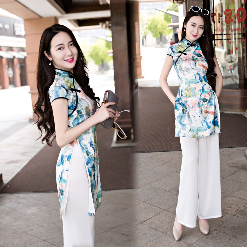 2019 Woman Chiffon Aodai Vietnam Traditional Clothing Ao Dai Vietnam Robes & Pants Piece Set Women Dresses Improved Cheongsam