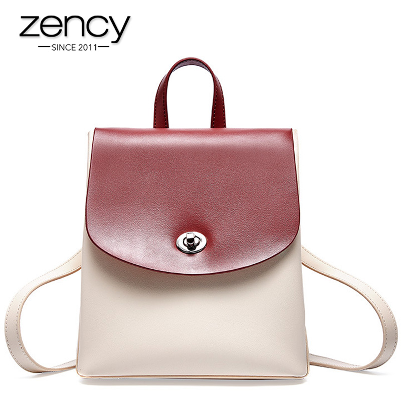Zency 100% Genuine Leather Panelled Women's Backpack Preppy Style Girl's Schoolbag Daily Casual Travel Bag High Quality Knapsack