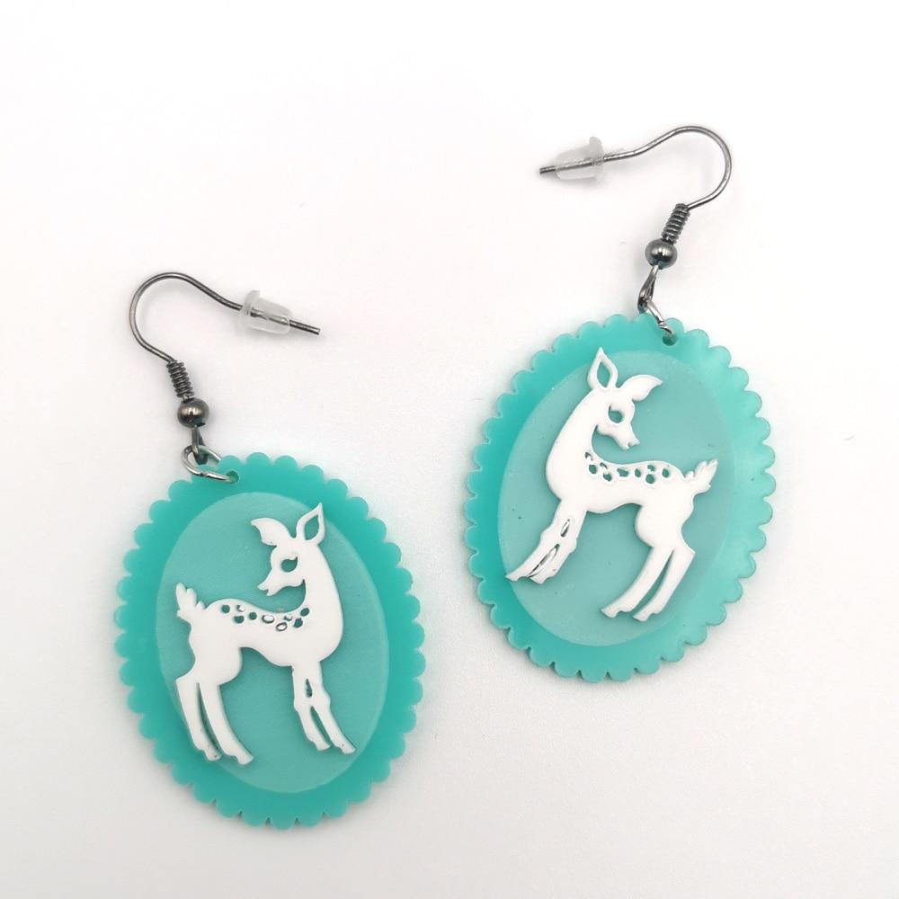 Fashion New Oval Mint Green Elk Acrylic Drop Earrings Women Exaggerated Raised Animal Dangle Earrings Brincos Korean Jewelry