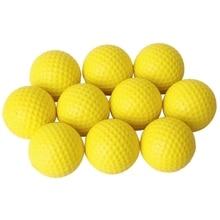 Розничная продажа 10 шт желтый мягкий эластичный внутренний тренировочный PU мяч для гольфа