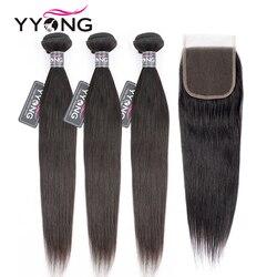Yyong Peruanische Gerade Haar 3 Bundles Remy Menschenhaar Extensions Mit 4*4 Spitze Verschluss Doppel Schuss Weben Bundles mit Verschluss