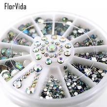 FlorVida 1 Wheel AB Color Plane Bottom Rhinestone Mixes Size Beauty Rhinestones Nail Art 3D Decoration
