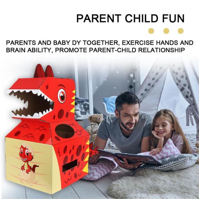 Baby Toys Dinosaur Carton Can Wear Paper Skin Handmade DIY Model Creative Birthday Gift Children's Toys 3