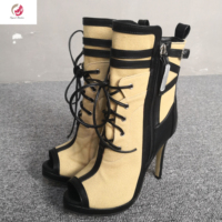 Original Intention Stylish Mixed Color Ankle Boots Woman Lace up Peep Toe Thin Heels Boots Ladies Shoes Woman Dress Party Mature