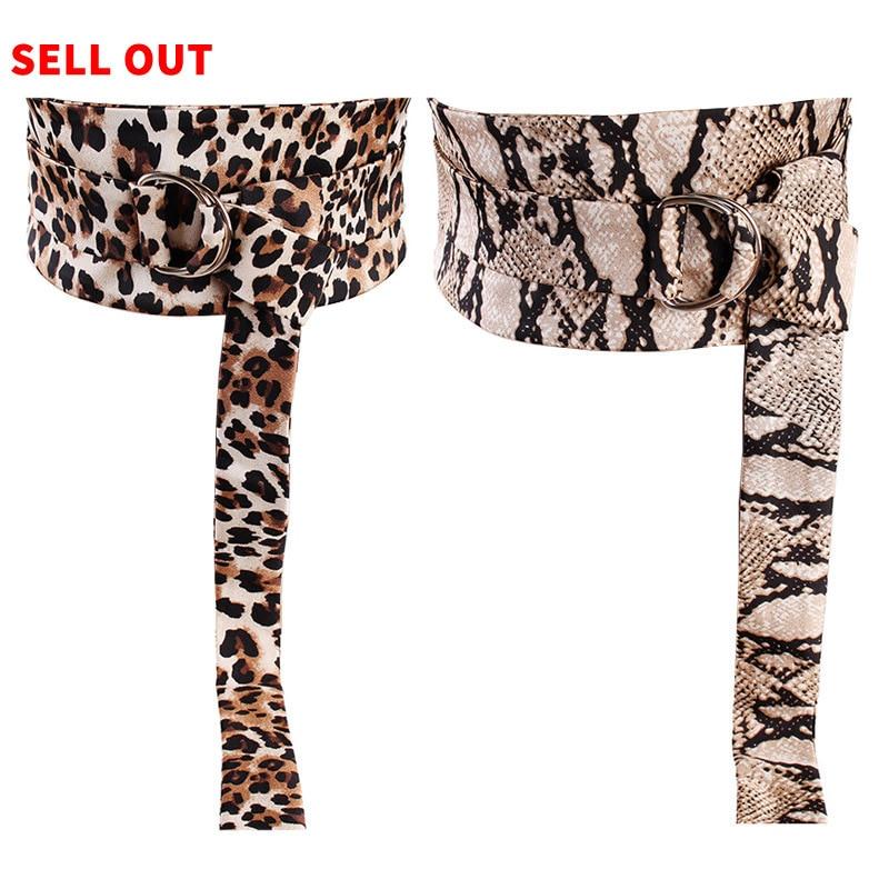 [EWQ 2018 Otoño e Invierno estampado de leopardo de cuero de la PU de nudo venda larga Irregular mujeres cinturón de marea de la moda de OC214