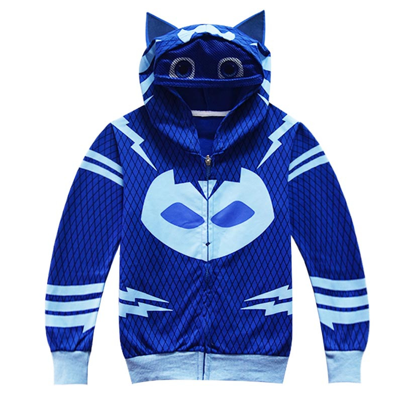 PJ Masks CatBoy Hoodie Clothes Cartoon Children's Cosplay Anime Clothes Boys Zipper Coat Baby Sweat Shirts Autumn Spring Kids