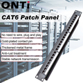 ONTi 19in 1U Rack 24 Port Straight-through CAT6 Patch Panel RJ45 Network Cable Adapter Keystone Jack Ethernet Distribution Frame