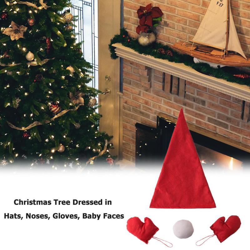 Xmas Tree Dress Up Ornaments Cloth Art Hat Nose Gloves Lovely New