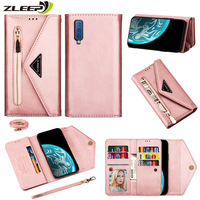 Flip Wallet Leather Case Voor Samsung Galaxy A5 J3 J5 J7 2017 A6 Plus A7 J3 J4 J6 J8 2018 j330 J530 Rits Diagonaal Telefoon Cover
