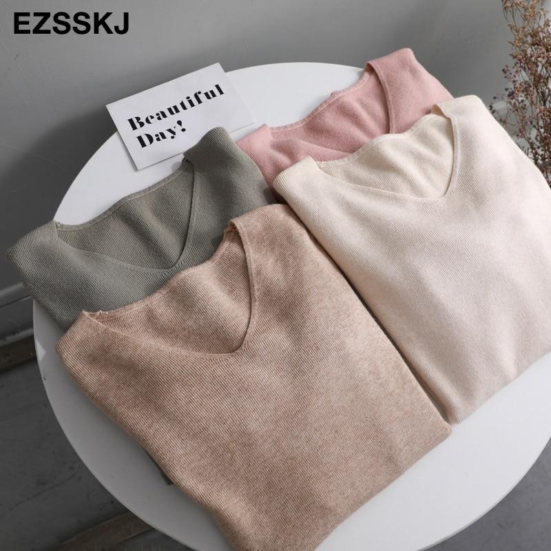 Шикарные повседневные осень зима базовый свитер пуловеры, женское платье с v образным воротом, однотонный трикотажный облегающий пуловер женский с длинным рукавом теплый свитер цвета хаки|Водолазки| | АлиЭкспресс
