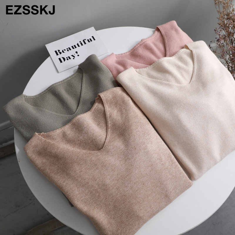 Chic Casual Autumn Winter Basic Sweater Pullovers Women V-neck Solid Knit Slim Pullover Female Long Sleeve Warm Khaki Sweater