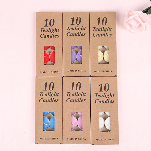 10 Pieces/Set Romantic Aromatherapy Tea Wax Candle Birthday Wedding Party Candle Candlelight Color Candle 3