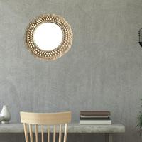 Round Lace Woven Mirror Hanging Wall Mirror Art Deco Round Mirror Living Room Wall Hanging Mirror Hand made Home Decoration