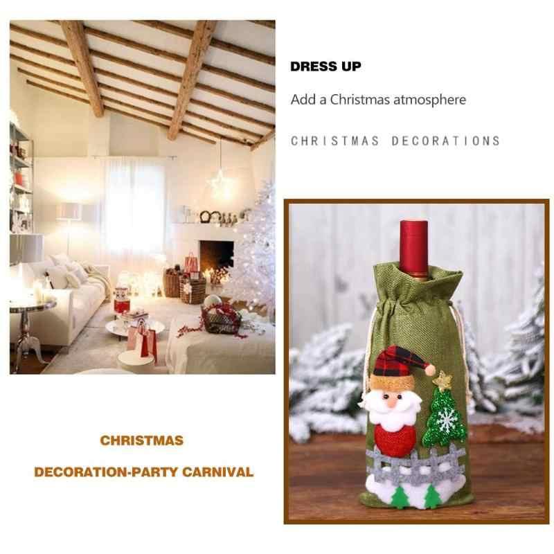 การ์ตูน Santa Claus Snowman Elk ขวดไวน์แดงฝาครอบคริสต์มาส Decor ขวดไวน์ฝาครอบคริสต์มาสของขวัญ