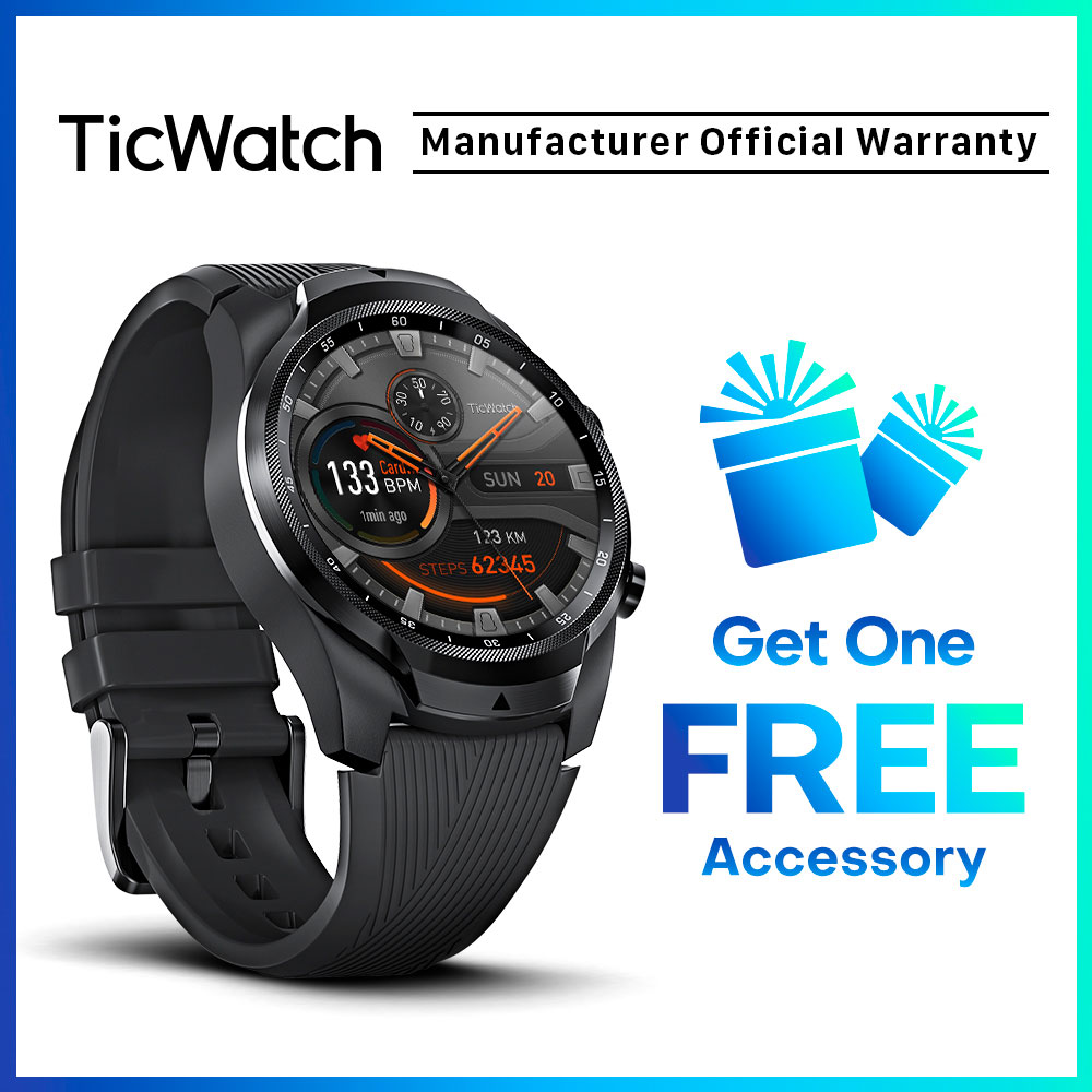 TicWatch Pro 4G/LTE 1GB RAM Sleep Tracking Swim-Ready IP68 Waterproof NFC Pay 4G Service For US-Verizon Or DE-Vodafone Phones