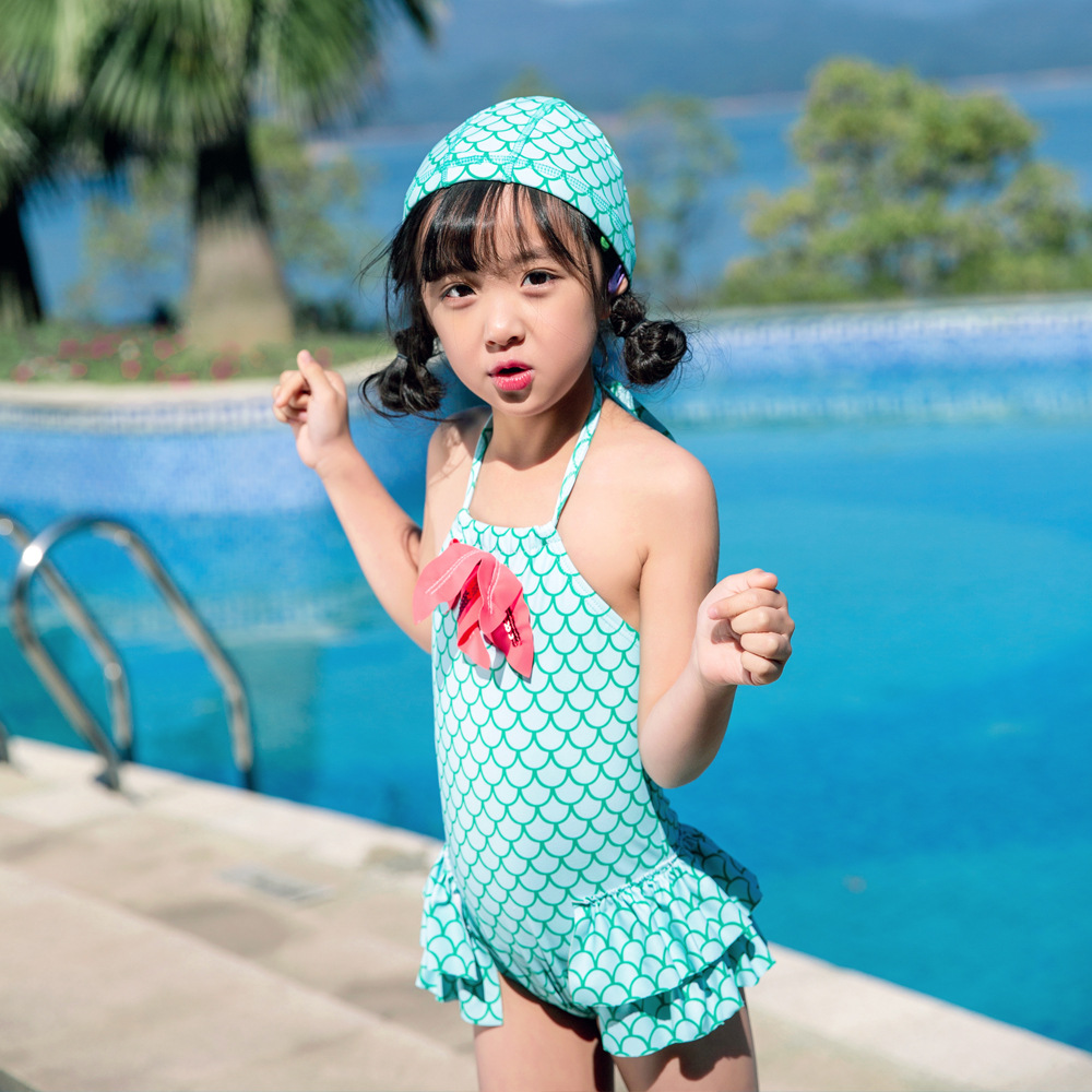 2019 Children Siamese Swimsuit Female Baby Starfish Skirt Swimwear Mermaid Cute Princess Olive Flower 1022