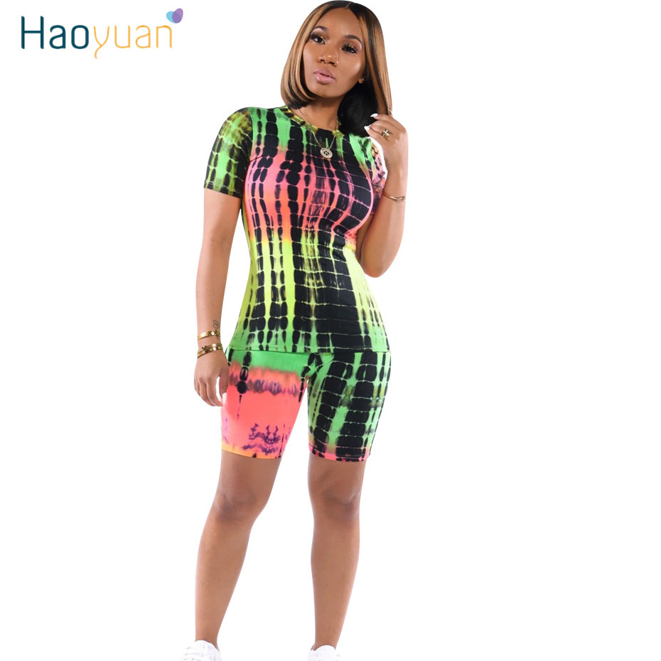 HAOYUAN Sexy Tie Dye Two Piece Set Tracksuit Women Summer Clothes Top And Biker Shorts Sweat Suits 2 Piece Outfits Matching Sets