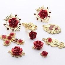 De oro de aleación de Zinc de flor Rosa corona Cruz encantos pendientes de Base conectores 6 unids/lote para joyería DIY hacer pendientes Accesorios