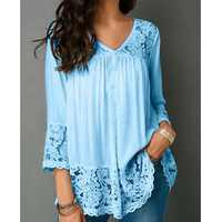 Women's Casual Tops and Blouses 2019 Back Lace Blouse 3/4 Sleeve Blouse Tunic Shirt Jumper Top Blusas Femininas Plus Size
