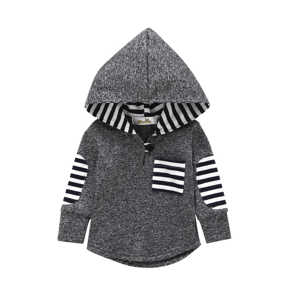 Pullover Hoodie Sweatshirt Toddler Infant Baby-Boys Fashion Children Autumn Pocket Striped