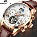 MEGALITH Мужские автоматические механические наручные часы tourbillon кожаные водонепроницаемые бизнес часы мужские спортивные наручные часы Relojes ...