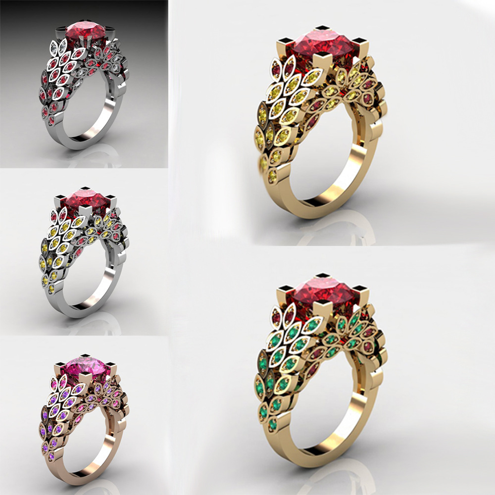 14K Yellow Gold Ruby Diamond Leaf Ring For Women Red And Greent Topaz Pure Natural Gemstone Anillos 2 Carats Dainty Jewelry Ring