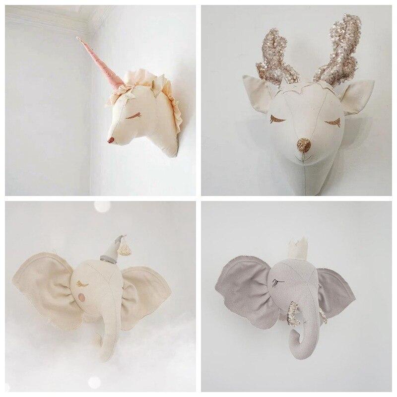 Decoración de habitación de bebé niña, unicornio ciervo, juguetes de peluche, cabezas de animales, decoración de pared para cama, niños, habitación, decoración, juguete Nórdico Peluches de pared    - AliExpress