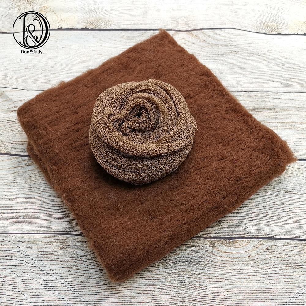 Don&Judy 2pcs/set Newborn Photography Props 50x50cm Blanket + 140x30cm Wrap Baby Photography Props Baby Photo Shoot Accessories