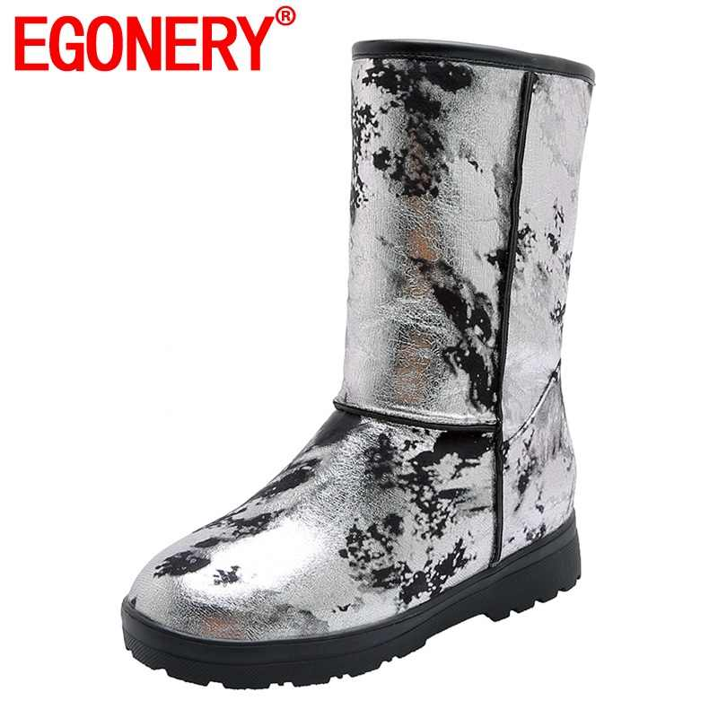 EGONERY serin kadın kar botları kış süper sıcak peluş mavi gümüş çiçek baskı kadın flats ayakkabı drop shipping 33 -45 artı boyutu