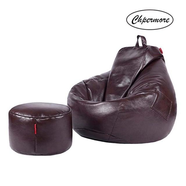 Leather Bean Bag w/ Ottoman 3