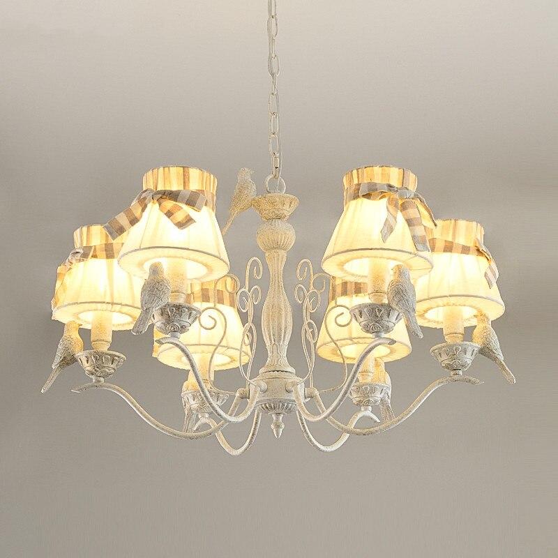 American Iron Bird Chandelier Girl Bedroom Princess Room Lamp European Romantic Bow Fabric Chandelier