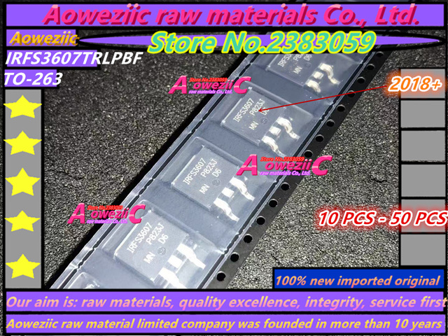 Aoweziic 2020 + 10 قطع 100% جديد مستورد أصلي IRFS3607TRLPBF IRFS3607 TO 263 N قناة MOSFET 75 فولت 80A