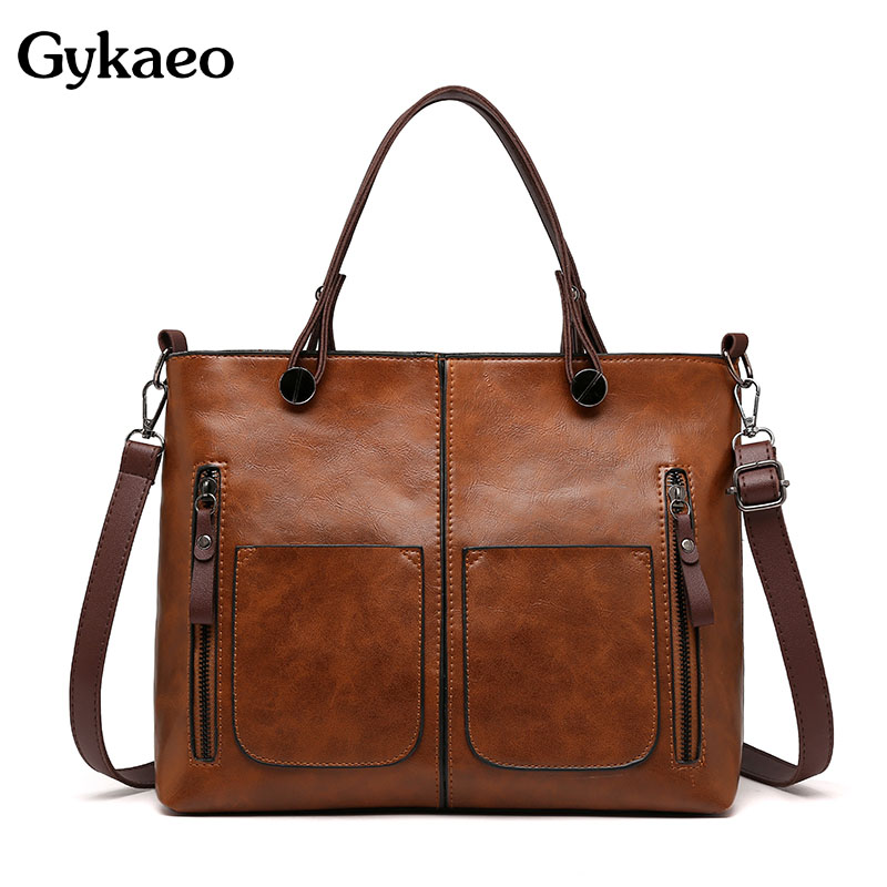 Gykaeo Luxury Handbags Women Bags Designer Vintage Tote Bag Ladies PU Leather Big Capacity Messenger Shoulder Bags Bolso Mujer