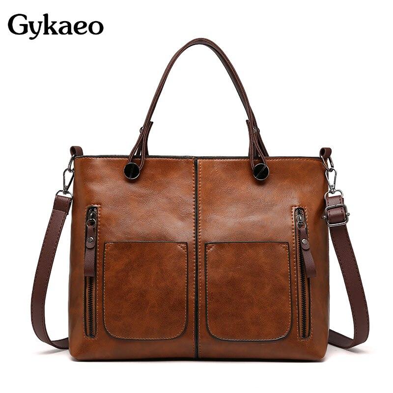 Gykaeo bolsas de luxo bolsas femininas designer do vintage tote saco das senhoras do plutônio couro grande capacidade mensageiro sacos de ombro bolso mujer
