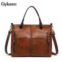 Gykaeo bolsos de lujo para Mujer bolsos de diseñador Vintage Bolso de mano de cuero de PU de gran capacidad bolsos de hombro Bolso Mujer