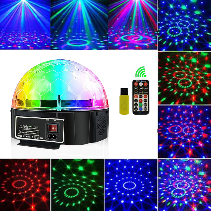 Disco Light Bluetooth Stage Light Disco Ball Lamp 9 Color Battery Power Portable Music Player Sound Control Laser Projector Xmas