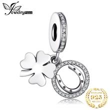 Jewelrypalace 925 пробы Серебристый Белый Цветок Удачи вокруг подарочные браслеты с брелоками для Для женщин Юбилей подарки Модные украшения