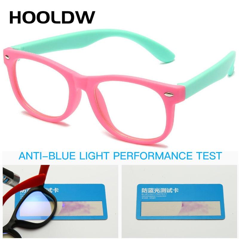 HOOLDW Anti Blue Light Kids Glasses Children Square Optical Frame Eyeware Boy Girls Square Computer Transparent Eyeglasses UV400