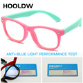 Детские очки HOOLDW с защитой от сисветильник, Детские квадратные оптические очки, очки для мальчиков и девочек, прозрачные компьютерные очки ...