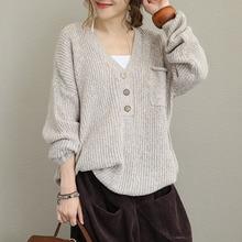 Женщины случайные свободные ленивый свитер сплошной цвет японский стиль ежедневный вязать пуловер V-образным вырезом свитера ол уличная женщины топы