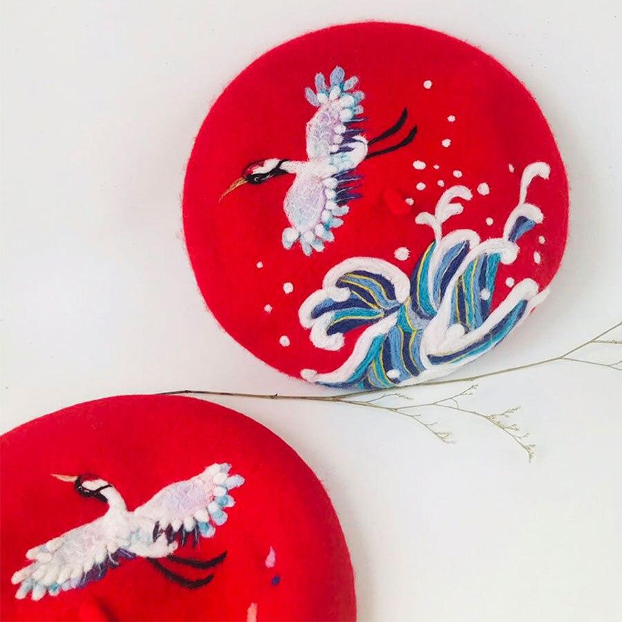 Ретро благоприятный кран шерстяная шапка женские шапки береты на зиму, теплый, для женщин шляпа Корейский ручной работы береты шапки s милый Рождественский подарок на Новый год - 2
