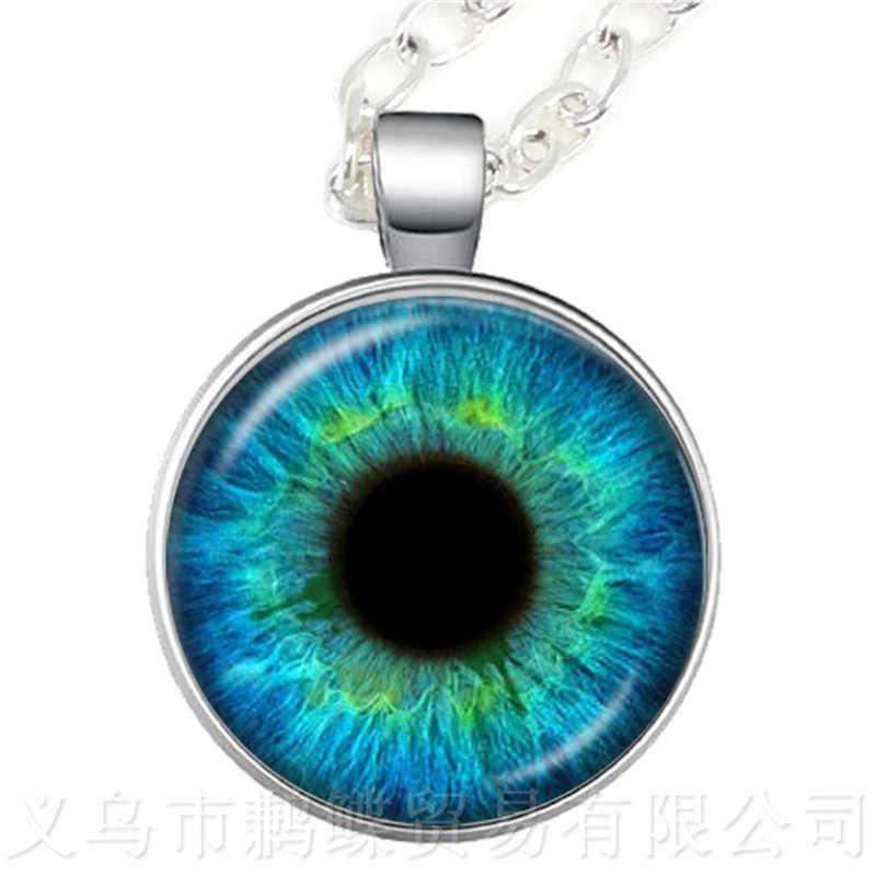 2018 новый модный кот глаза искусство картина сглаз ожерелье 25 мм стекло кабошон свитер цепь подарок для друзей ученик глаз