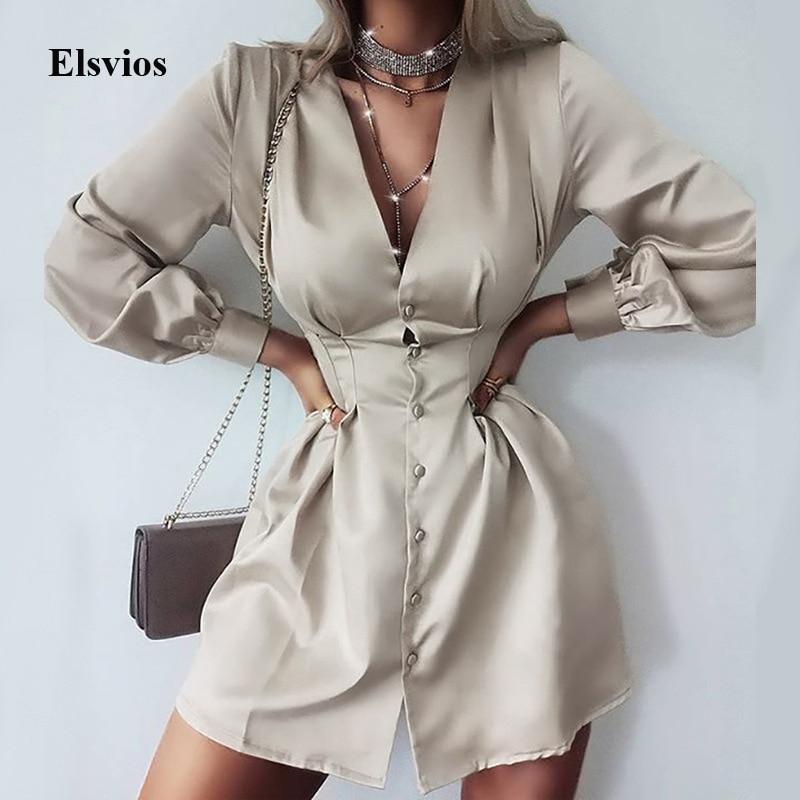 Sexy Deep V Neck Women Shirt Dress Elegant Solid Office Lady Buttons Mini Dress Spring Autumn Long Sleeve Party Dress Vestido XL