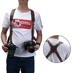Image 1 - Camera Strap Leather Double Shoulder Strap  Harness Camera Shoulder Strap Photography Accessories