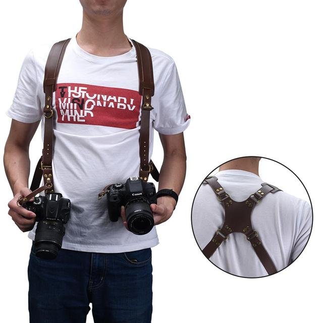 Camera Strap Leather Double Shoulder Strap  Harness Camera Shoulder Strap Photography Accessories